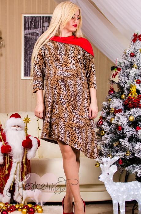Платье П 336 (красный+леопард)