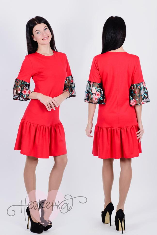 Платье П 644 (красный+маки на сетке)