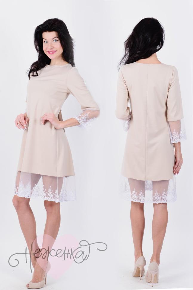 Платье П 651 (беж+кружево)