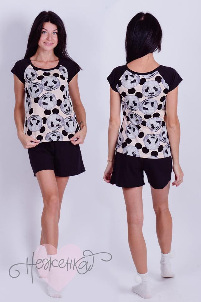 Пижама женская Д 35 (черный+принт панды) - купить оптом за 551 руб ... 3ffa6a6e07c51