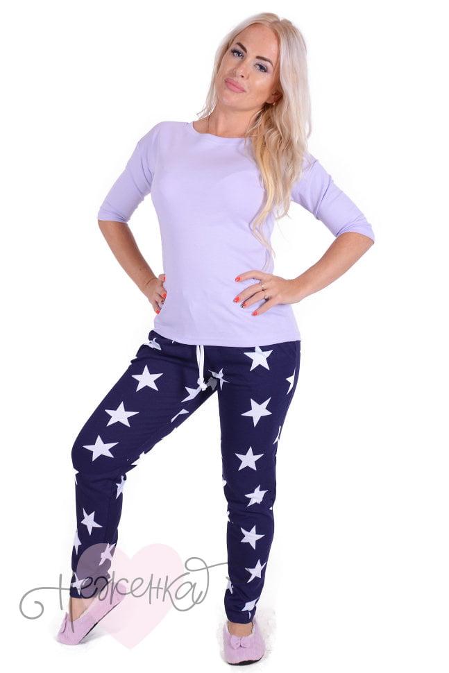 b205b134cf60d Женская пижама ЖП 002 (звезды+светло-сиреневый) - купить оптом за ...
