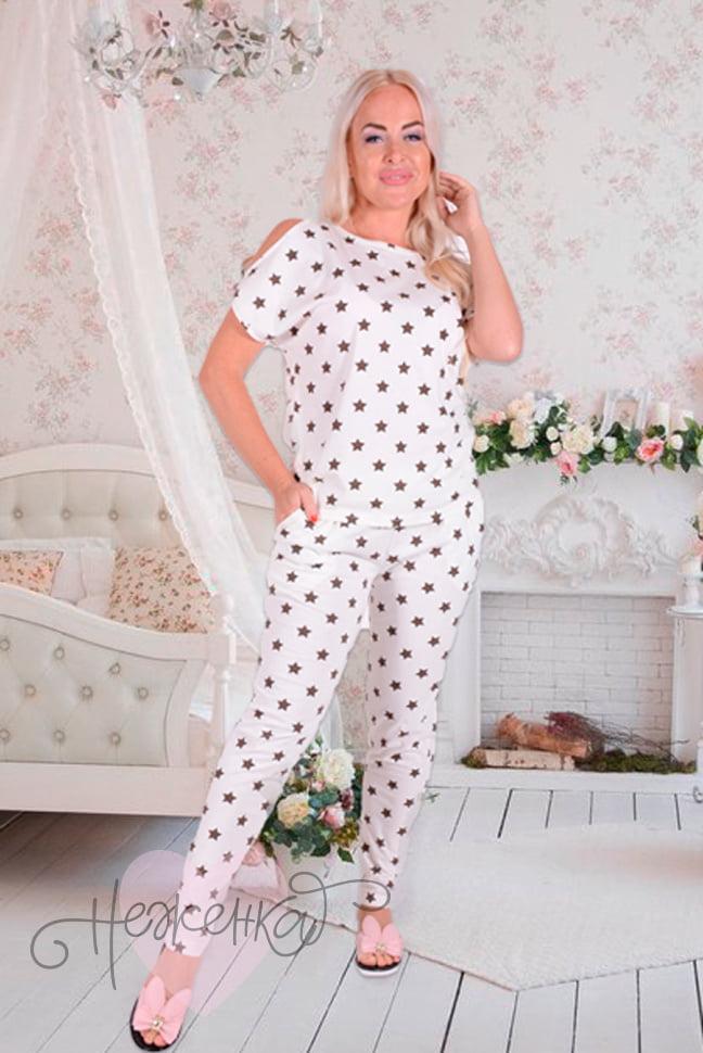 f86f265c67a30 Женская пижама ЖП 003 (молочный со звездами) - купить оптом за 120 ...