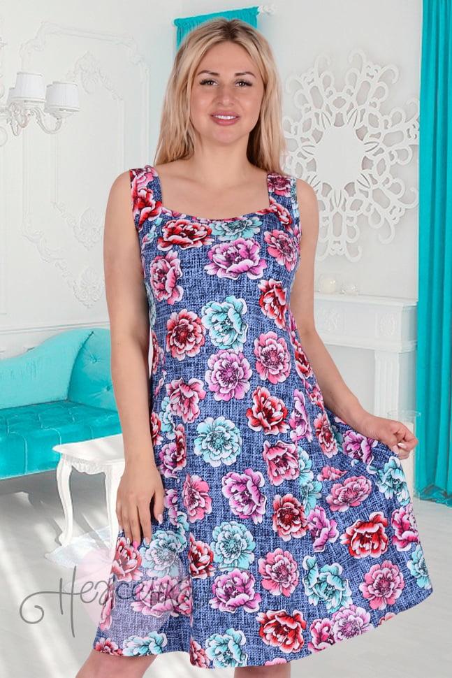 ddfb95b5d90 Сарафан С 2 (цветы на джинсе) - купить оптом за 450 руб. от ...