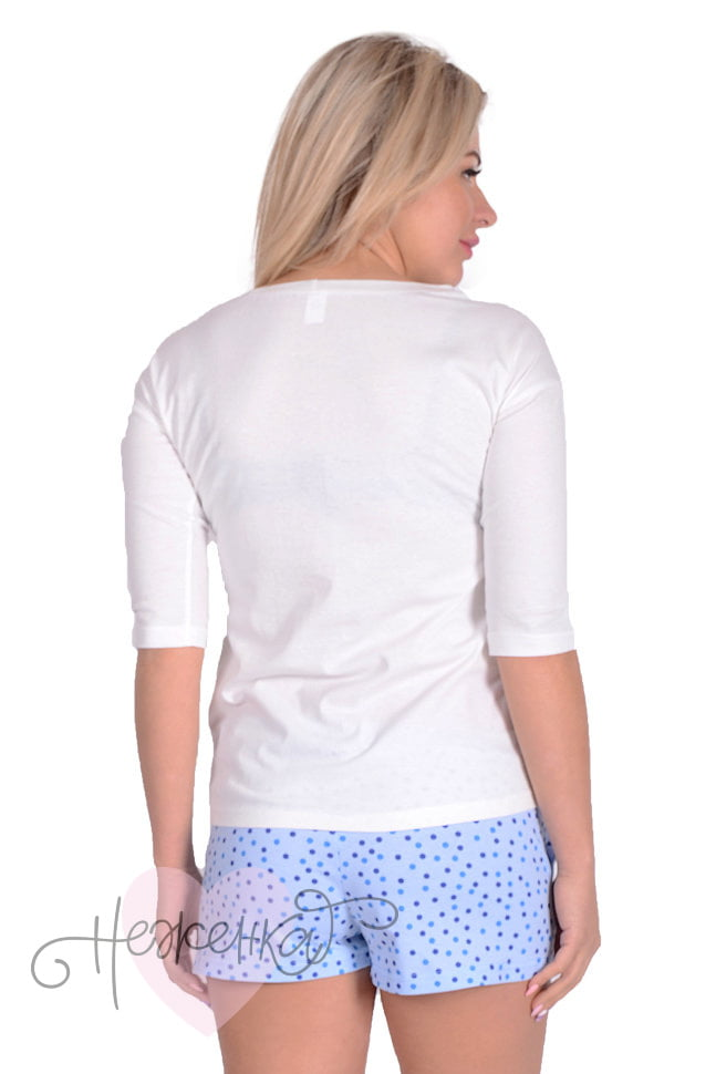Женская пижама ЖП 001 (горох + белый) - купить оптом за 370 рублей ... f04c13ba340b6
