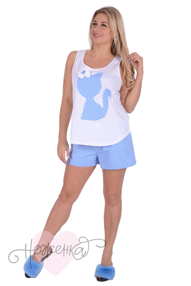Женская пижама ЖП 011 (белый + горох на голубом) - купить оптом за ... 1a8905d847197