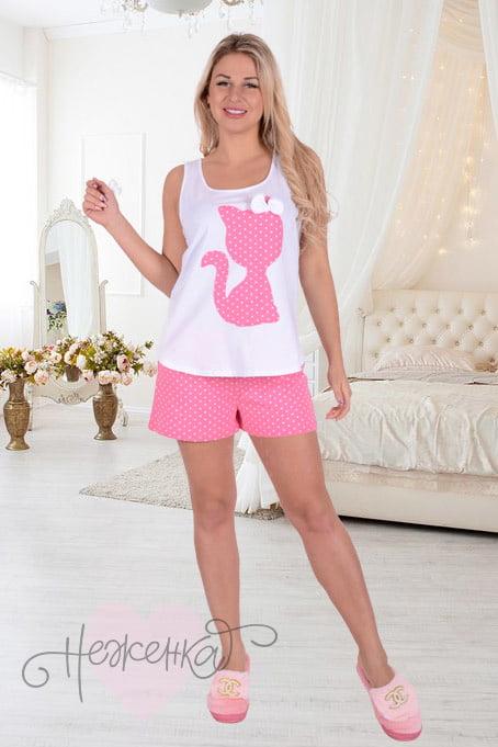 Женская пижама ЖП 011 (белый + горох на розовом) - купить оптом за ... da1620e912c05