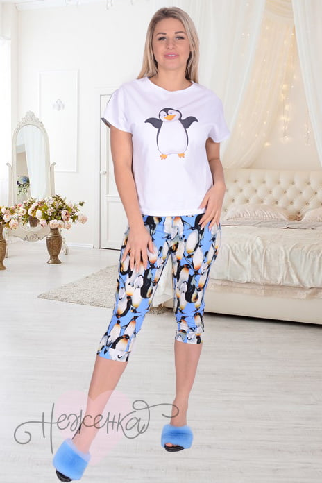 9f7573dbaf06f Женская пижама ЖП 019 (белый+принт пингвины) - купить оптом за 120 ...